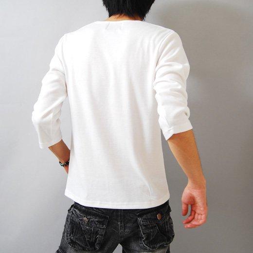 【プリントで秋の彩りを取り入れた今旬Tシャツ!】ボーダープリント・メンズ七分袖VネックTシャツ詳細2