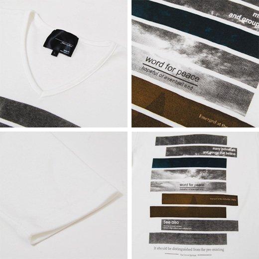 【プリントで秋の彩りを取り入れた今旬Tシャツ!】ボーダープリント・メンズ七分袖VネックTシャツ詳細3