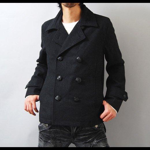 【都会的なシンプルで洗練されたスタイリッシュPコート】ウールメルトン・ショートPコート