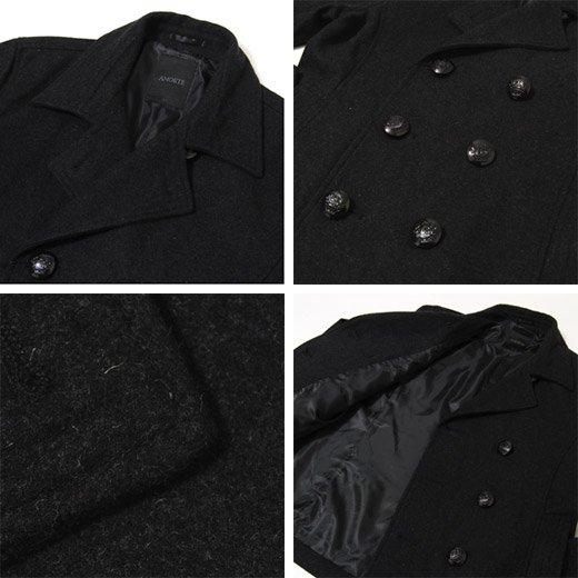 【都会的なシンプルで洗練されたスタイリッシュPコート】ウールメルトン・ショートPコート詳細3