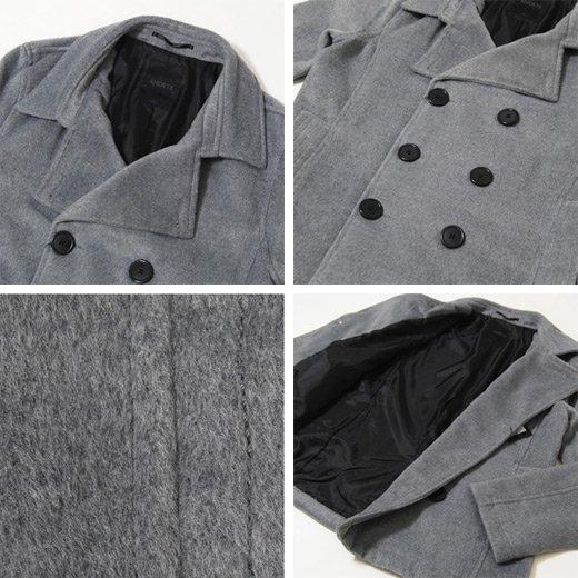 【印象がガラッと変わるグレーコートの上品さはオススメ!】レーヨン混フェイクウールショートPコート詳細3