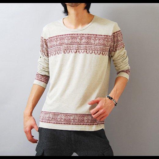 【マッドなワインがクールな雰囲気。1枚でサラッと着てもOK】エスニックプリント・メンズ長袖Tシャツ