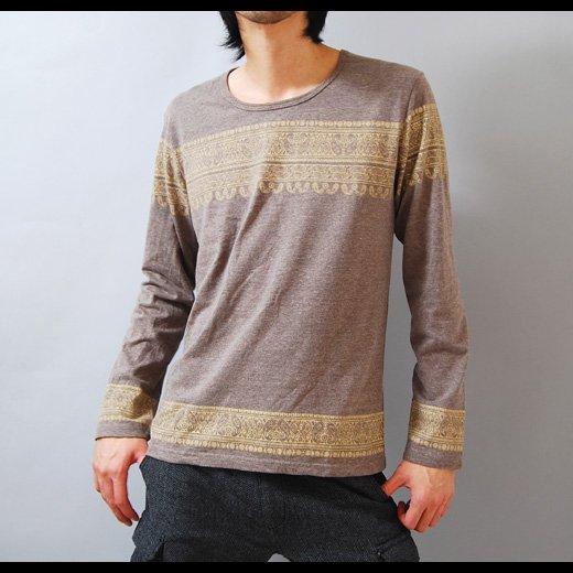 【ナチュラルなアースカラーを融合させて優しい雰囲気を演出】エスニックプリント・メンズ長袖Tシャツ