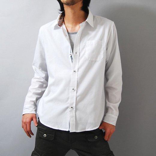 【洗練された男のカッコよさを引き出すホワイトシャツ】チェック切り替えし・シンプル メンズ長袖シャツ詳細1
