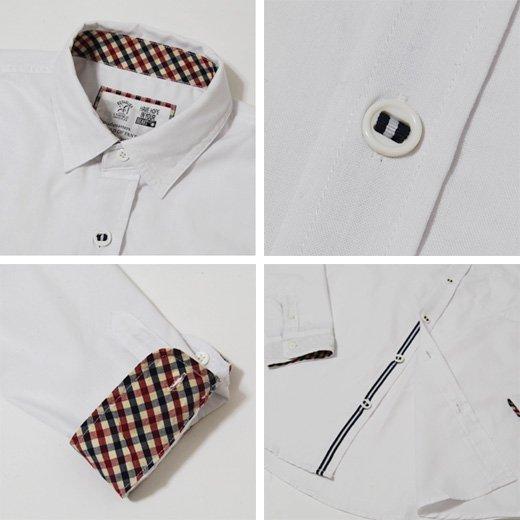 【洗練された男のカッコよさを引き出すホワイトシャツ】チェック切り替えし・シンプル メンズ長袖シャツ詳細3