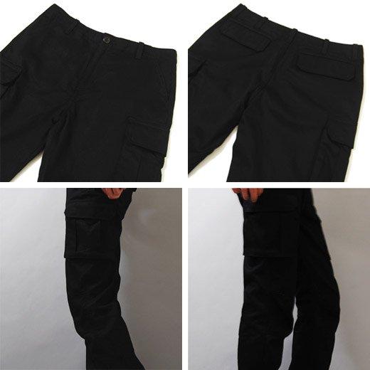 【シャープでシンプルなブラックカーゴでスマートなスタイリングに】6ポケットスリムカーゴパンツ詳細3