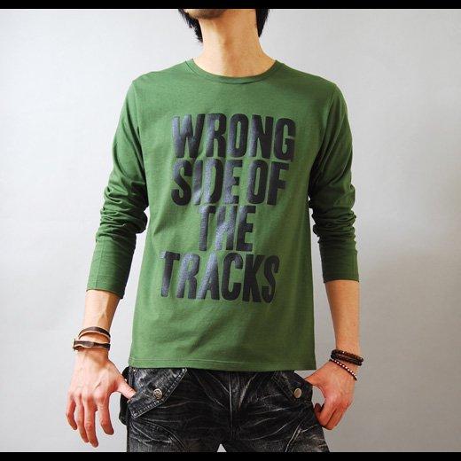 【カーキ×ブラックプリントで魅せるこだわりのワークテイスト】メッセージプリント メンズ長袖Tシャツ