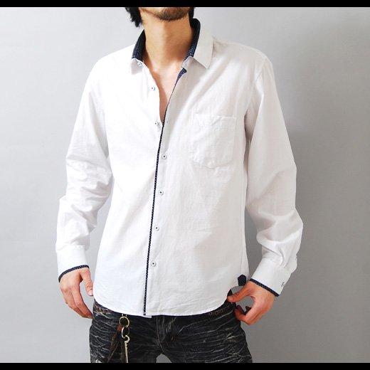 【1枚でもインナーでも!重宝するホワイトシャツ!】ドットパイピング・シャンブレー メンズ長袖シャツ