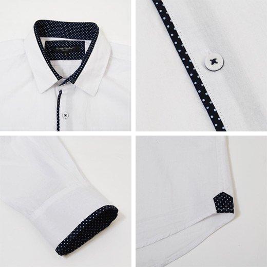 【1枚でもインナーでも!重宝するホワイトシャツ!】ドットパイピング・シャンブレー メンズ長袖シャツ詳細3