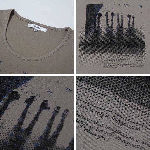 【ナチュラルな雰囲気のアースカラーは合わせやすさ抜群!】フォトプリント・ゆる首 メンズ七分袖Tシャツ詳細3