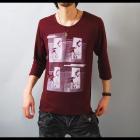 【INに合わせて差し色としても♪カラーでグッとオシャレに】フォトプリント・ゆる首 メンズ七分袖Tシャツ