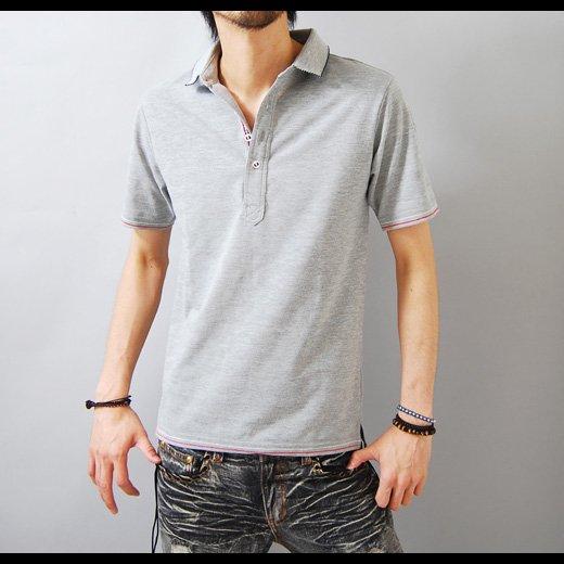 【このシンプル&クールが男の余裕を生み出す】ボーダー織り・鹿の子天竺 メンズポロシャツ