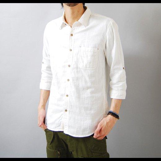 【1枚でサラッとラクに着られるナチュラルな印象のヘビロテシャツ】ダブルガーゼ メンズ五分袖シャツ