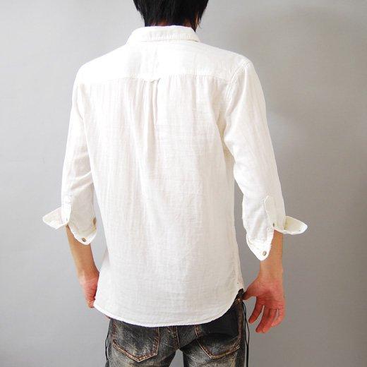【1枚でサラッとラクに着られるナチュラルな印象のヘビロテシャツ】ダブルガーゼ メンズ五分袖シャツ詳細1