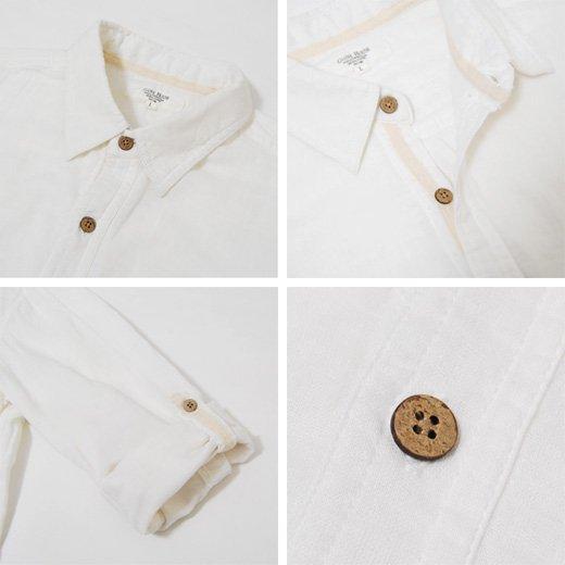 【1枚でサラッとラクに着られるナチュラルな印象のヘビロテシャツ】ダブルガーゼ メンズ五分袖シャツ詳細3