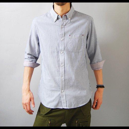 【言うことナシの洗練されたキレイめシャツ!抜群に使える秀逸な1着】ピンストライプ メンズ五分袖シャツ