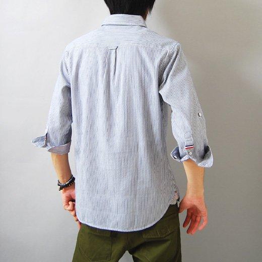 【言うことナシの洗練されたキレイめシャツ!抜群に使える秀逸な1着】ピンストライプ メンズ五分袖シャツ詳細1