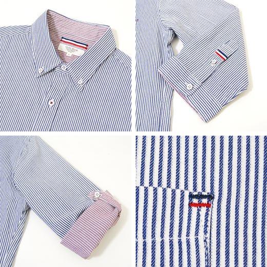 【言うことナシの洗練されたキレイめシャツ!抜群に使える秀逸な1着】ピンストライプ メンズ五分袖シャツ詳細3
