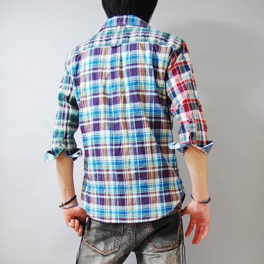 【スタイリングを個性的で華やかなインパクトある印象に♪】クレイジーパターン・七分袖チェックシャツ詳細1