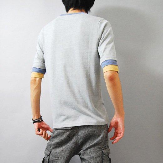 【袖のカラーリングがさり気なくスタイリングのポイントに♪】トリプルフェイクレイヤード五分袖Tシャツ詳細1