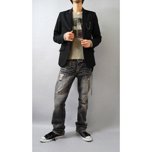 【ジャケットに合う!目を惹くデザインプリントがインパクトあり♪】フォトプリント・Vネック長袖Tシャツ詳細2