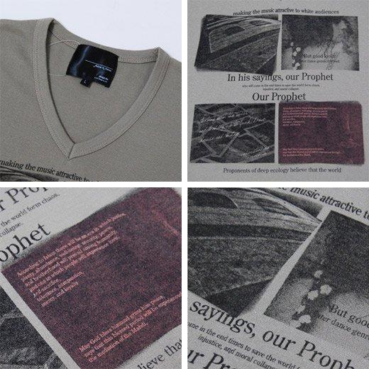 【ジャケットに合う!目を惹くデザインプリントがインパクトあり♪】フォトプリント・Vネック長袖Tシャツ詳細3