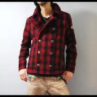 【冬にこそ映えるレッドチェックの存在感は必見!】チェックショートPコートタイプ・ウールジャケット