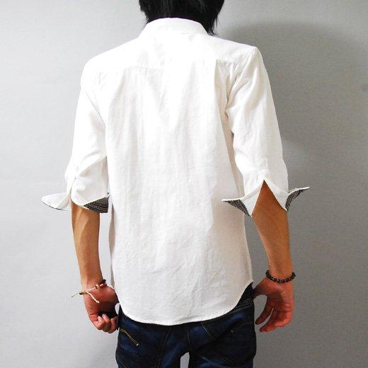【スッキリだけど個性的。センスを感じさせる1着!】ジャガード切り替え・七分袖ボタンダウンシャツ詳細1