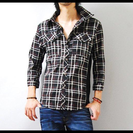【カッコよく着こなせる男のチェックシャツ!】サイドリブ切り替え・チェーンステッチ刺繍チェックシャツ