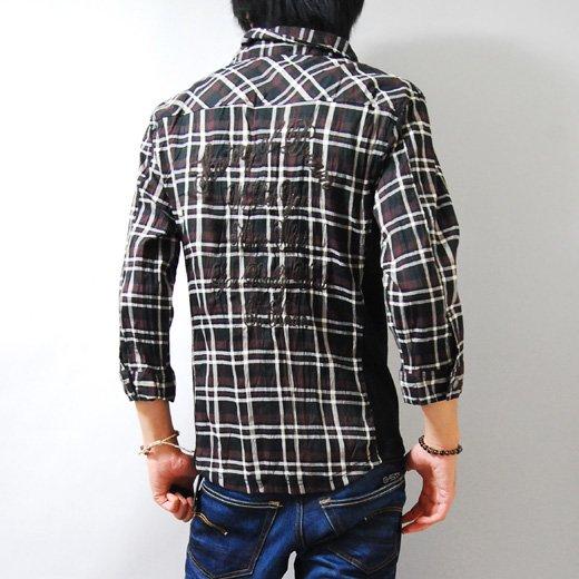 【カッコよく着こなせる男のチェックシャツ!】サイドリブ切り替え・チェーンステッチ刺繍チェックシャツ詳細1