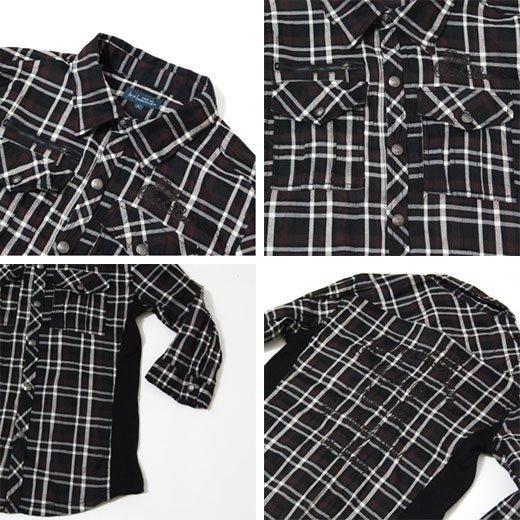 【カッコよく着こなせる男のチェックシャツ!】サイドリブ切り替え・チェーンステッチ刺繍チェックシャツ詳細3