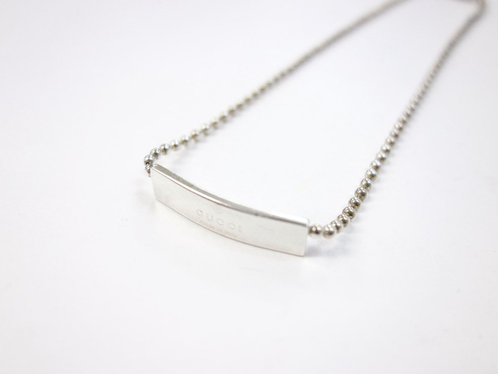 GUCCI グッチ  ロゴプレート ネックレス silver925 MADE IN ITALY USED