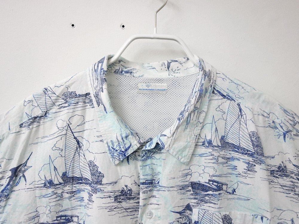 Columbia PFG S/S 総柄 フィッシングシャツ USED