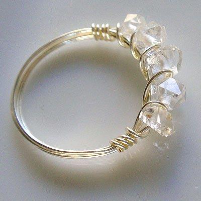 ▲SALE半額・ハーキマーダイヤモンド ☆開運・幸せのワイヤーパワーストーンリング  の画像