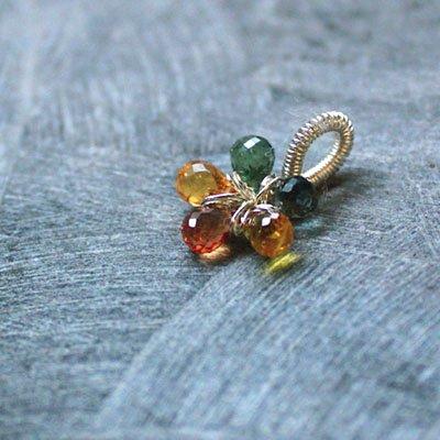 ▲SALE・サファイア・マルチカラー☆賢者の天然石☆1愛の五弁の花ペンダント現品  の画像