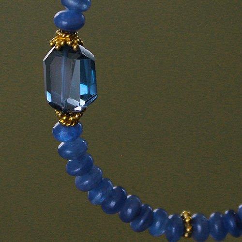 ▲OFF・ロンドンブルートパーズ・カイヤナイト☆誠実・希望・知性の青い天然石ブレス・何かに取り組む人や集中したい時にの画像