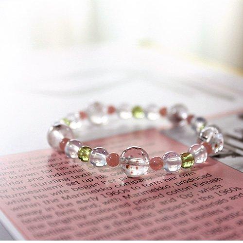 ガーネットインクォーツ・インカローズ★女性に役立つ石が繋がっています。恋愛運・結婚運・活性化☆癒しと安定のパワーブレスの画像