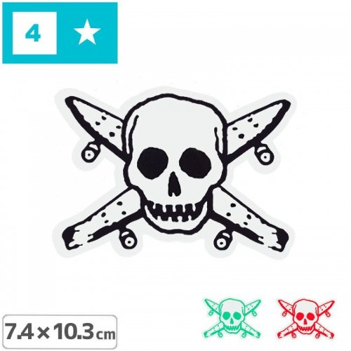 【FOURSTAR フォースター Sticker ステッカー】PIRATE【3色】【7.4cm x 10.3cm】NO4