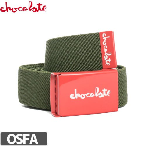 【CHOCOLATE チョコレート スケボー ベルト】RED SQUARE STRETCH【アーミー・レッド】No12