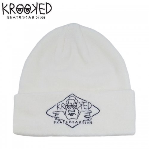 【KROOKED クルックト スケボー ニットキャップ】ARKETYPE 2 EMBROIDERED CUFF BEANIE 折り返し【ホワイト】NO7
