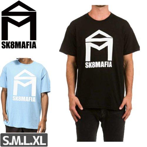 【スケートマフィア SK8MAFIA スケボー Tシャツ】HOUSE LOGO TEE【ブラック】【パウダーブルー】NO2