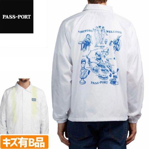 【PASS~PORT パスポート スケボー ジャケット】GREECE EMBROIDERY COACH JACKET NO1-B ホワイト【B品・訳アリ】