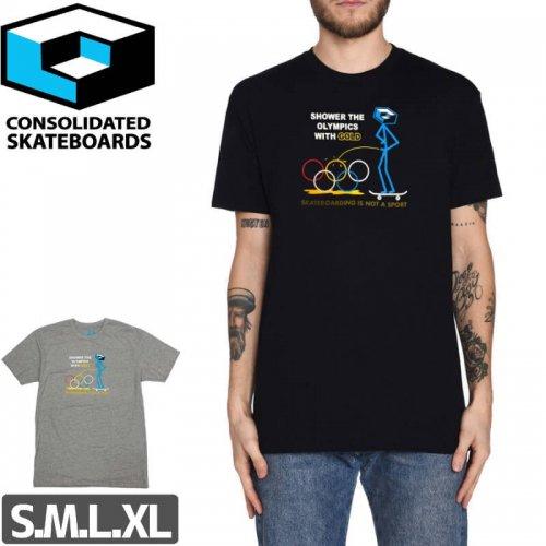 【コンソリデーテッド CONSOLIDATED スケボー Tシャツ】SHOWER THE OLYMPIC TEE【ブラック】【ヘザーグレー】NO6