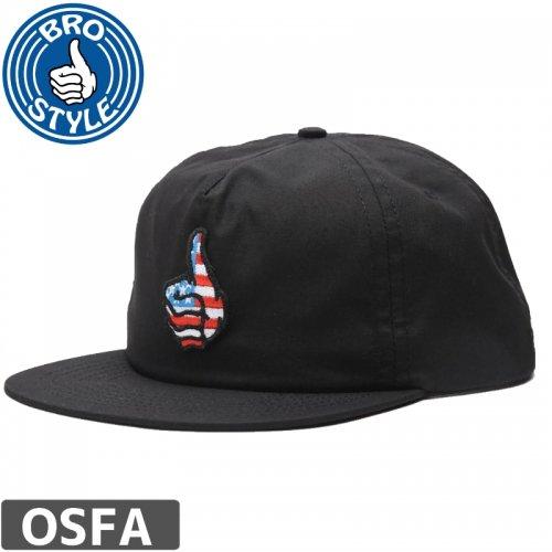 【BRO STYLE ブロスタイル スケボー キャップ】USA UNSTRUCTURED CAP【ブラック】 NO4