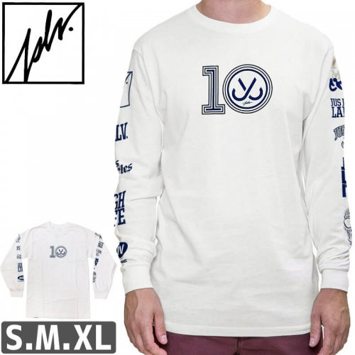 【ジャスリブ JSLV スケボー ロングTシャツ】10 YEAR LONG SLV【ホワイト】NO3