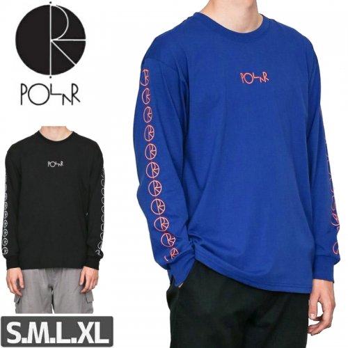 【POLAR ポーラー スケボー Tシャツ】RACING L/S TEE【ブラック】【ブルー】NO13