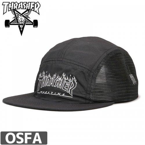 【スラッシャー THRASHER  キャップ】FLAME OUTLINE 5-PANEL CAP US規格【ブラック】NO37