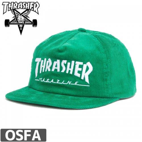 【スラッシャー THRASHER  キャップ】US規格 SNAPBACK MAG LOGO CORDUROY CAP【グリーン】NO40