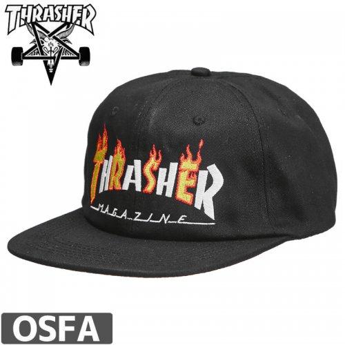【スラッシャー THRASHER  キャップ】US規格 FLAME MAG SNAPBACK CAP【ブラック】NO41