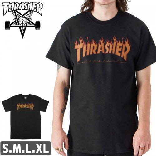 【スラッシャー Tシャツ THRASHER スケボー】(USAモデル)FLAME HALFTONE T-SHIRT【ブラック】NO105